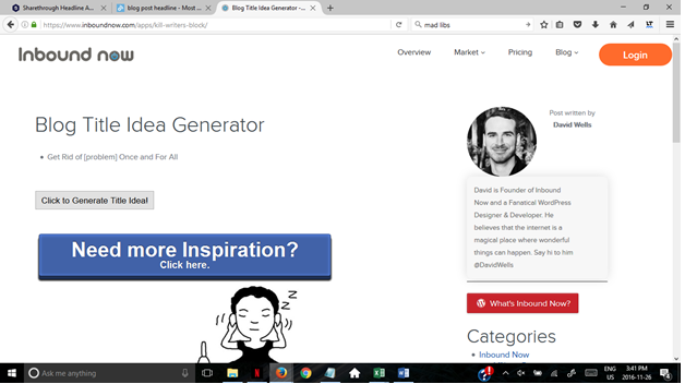 Inbound Now blog title generator