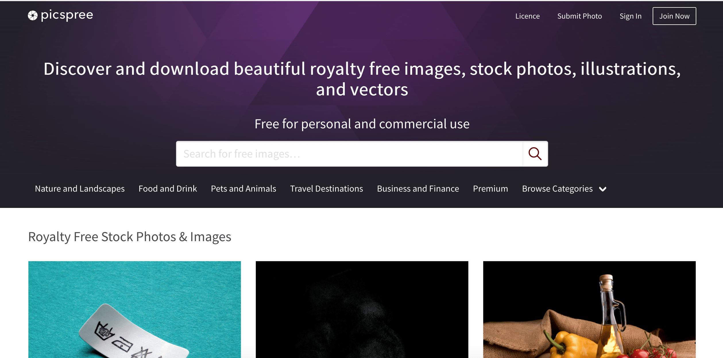 Picspree stock photo site