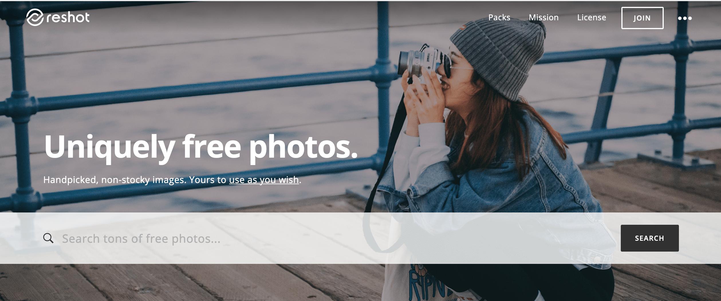 Reshot stock photo site