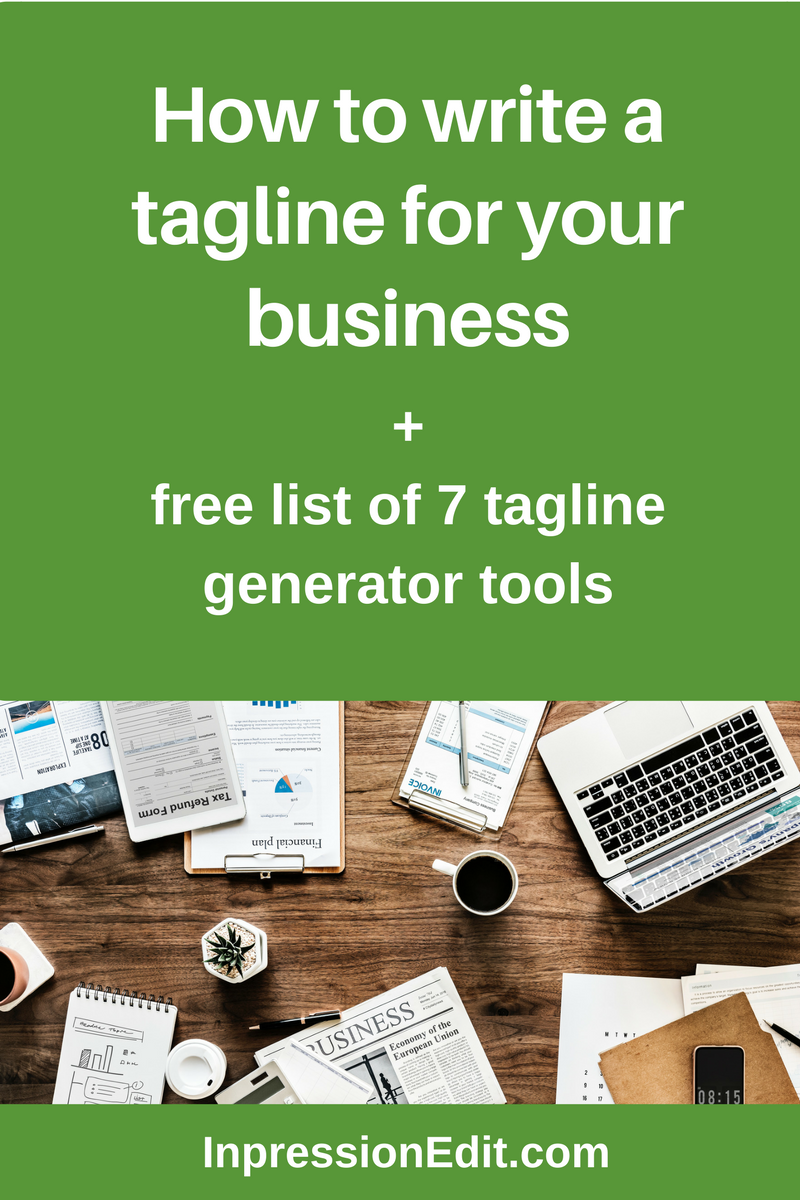 How to write a tagline for your business 7 free tagline for Craft business name generator