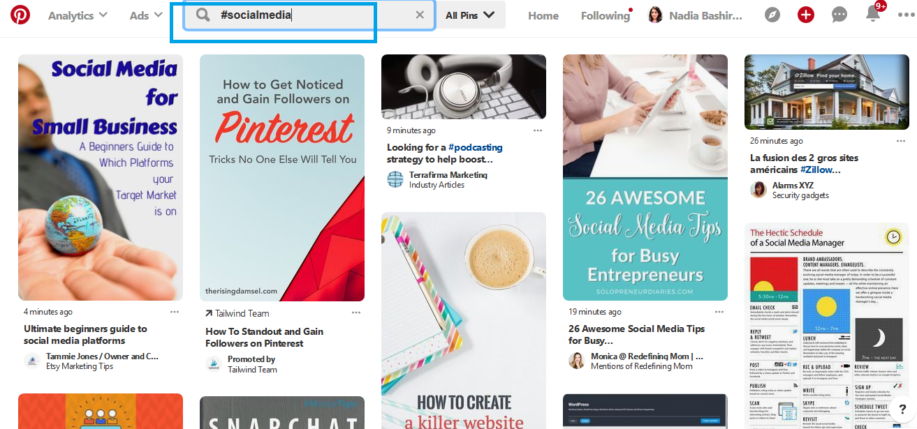 Pinterest hashtag search function