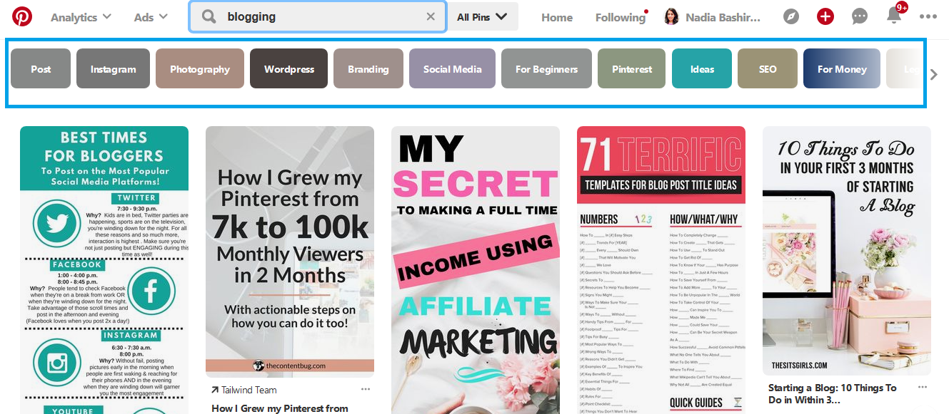 Pinterest search for keywords