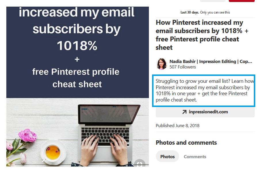 Pinterest pin meta description display