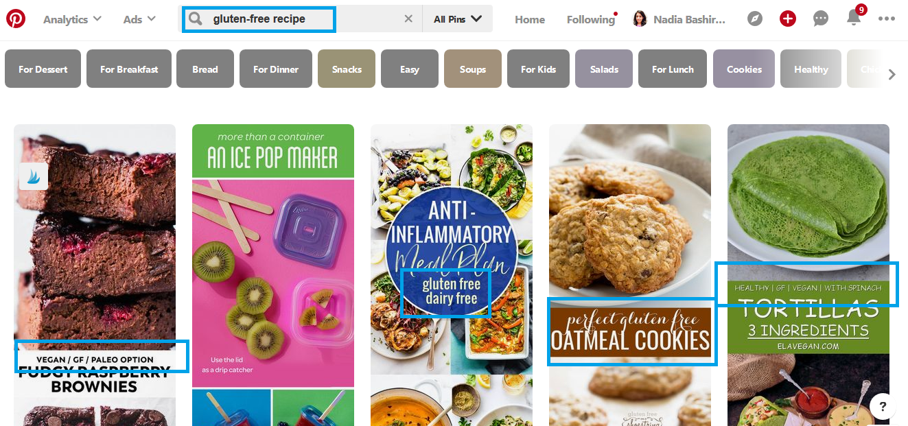 Pinterest search feature