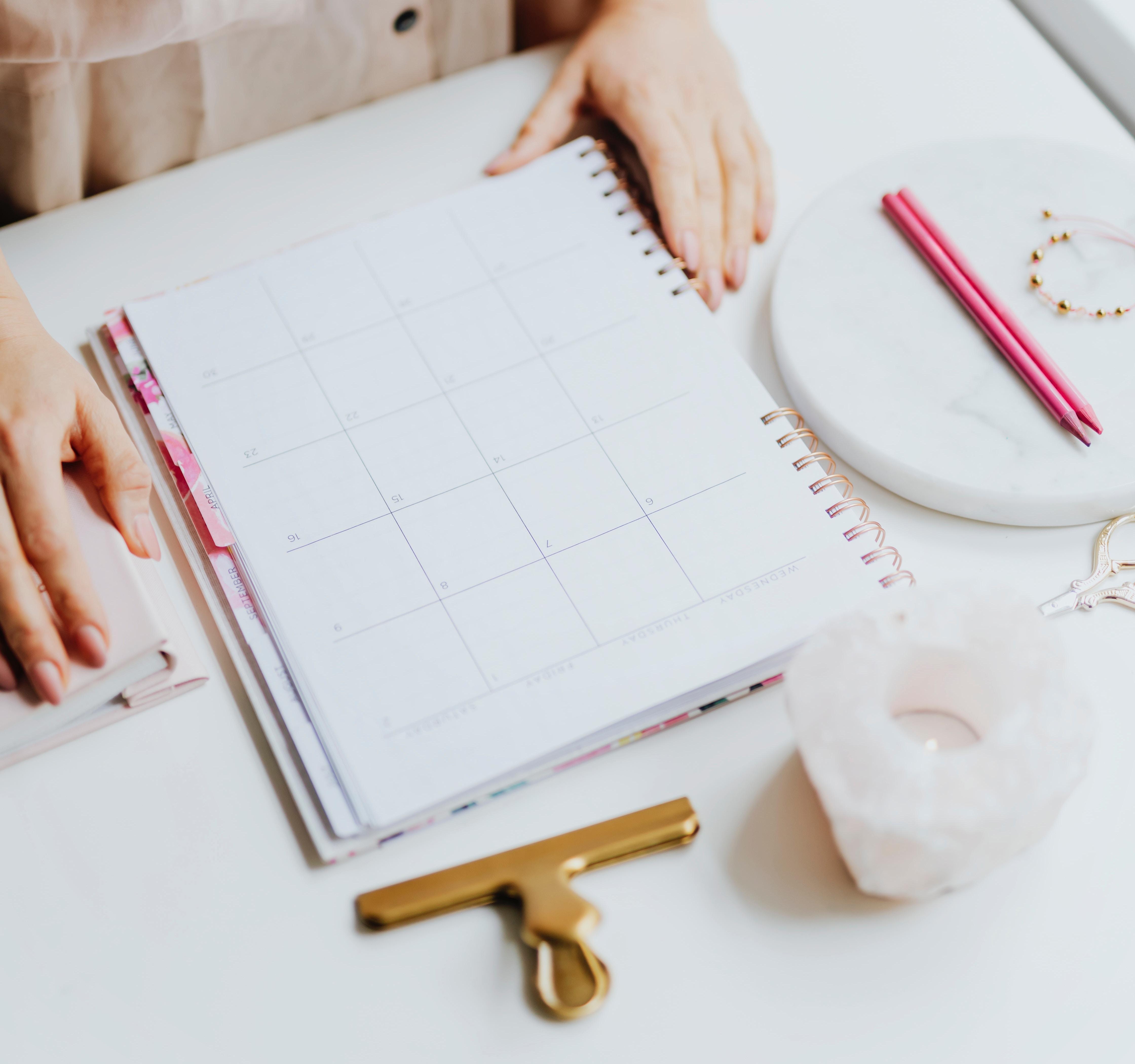 a calendar sitting on a desk