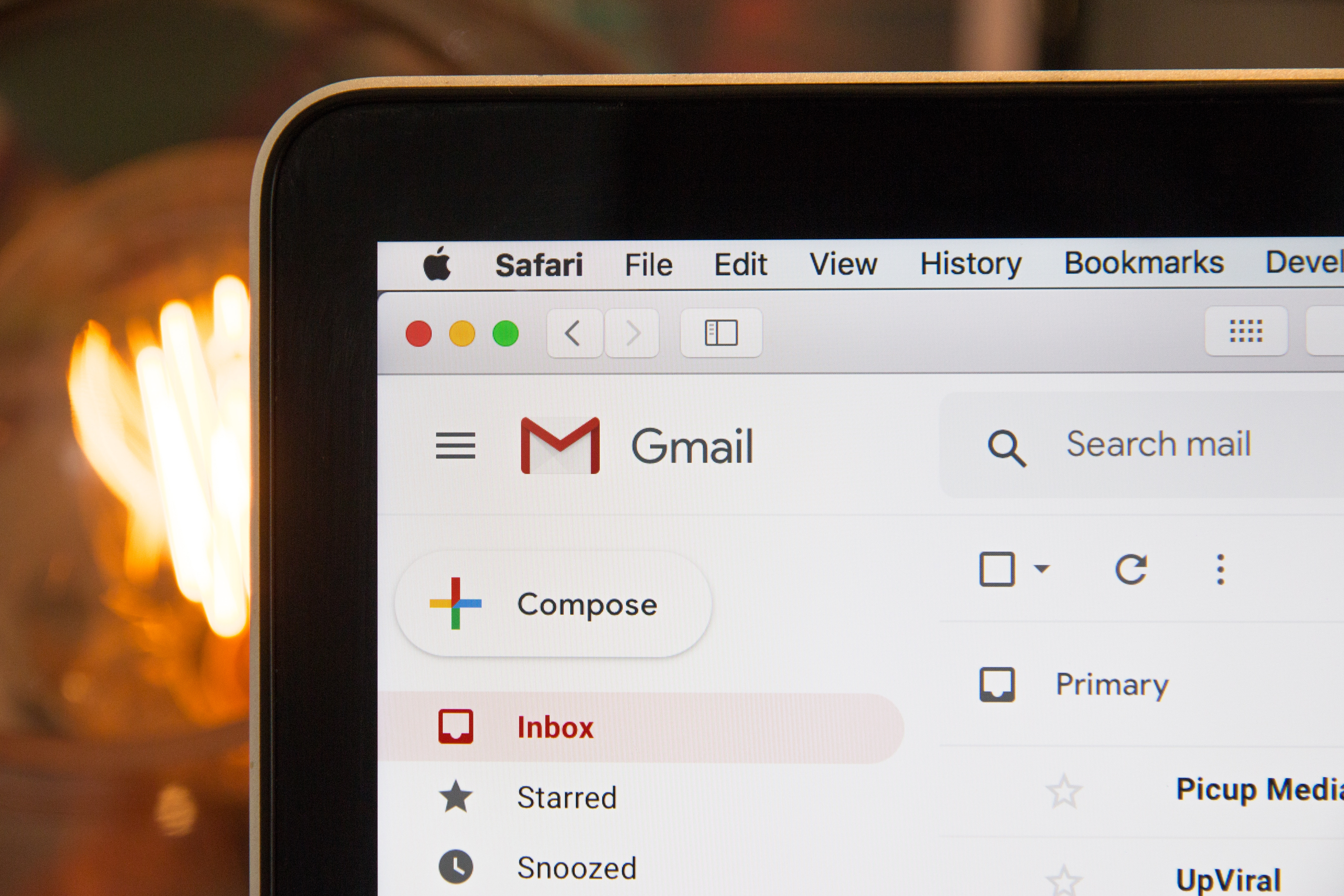 Gmail open on a laptop