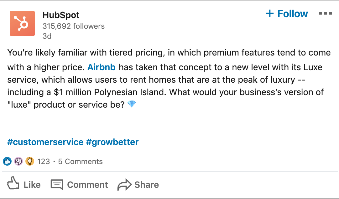 Example of a LinkedIn post