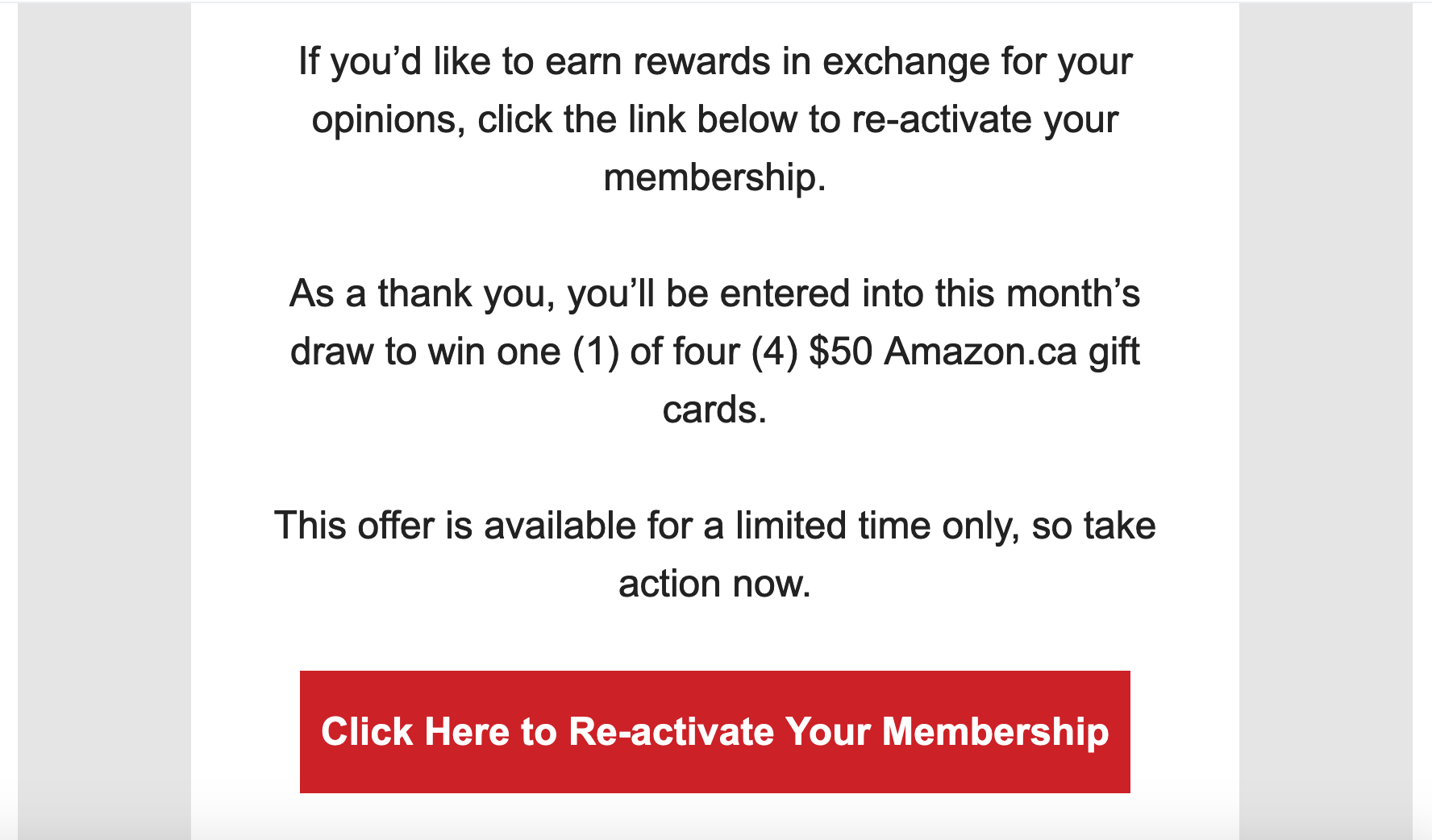 Example of email copy
