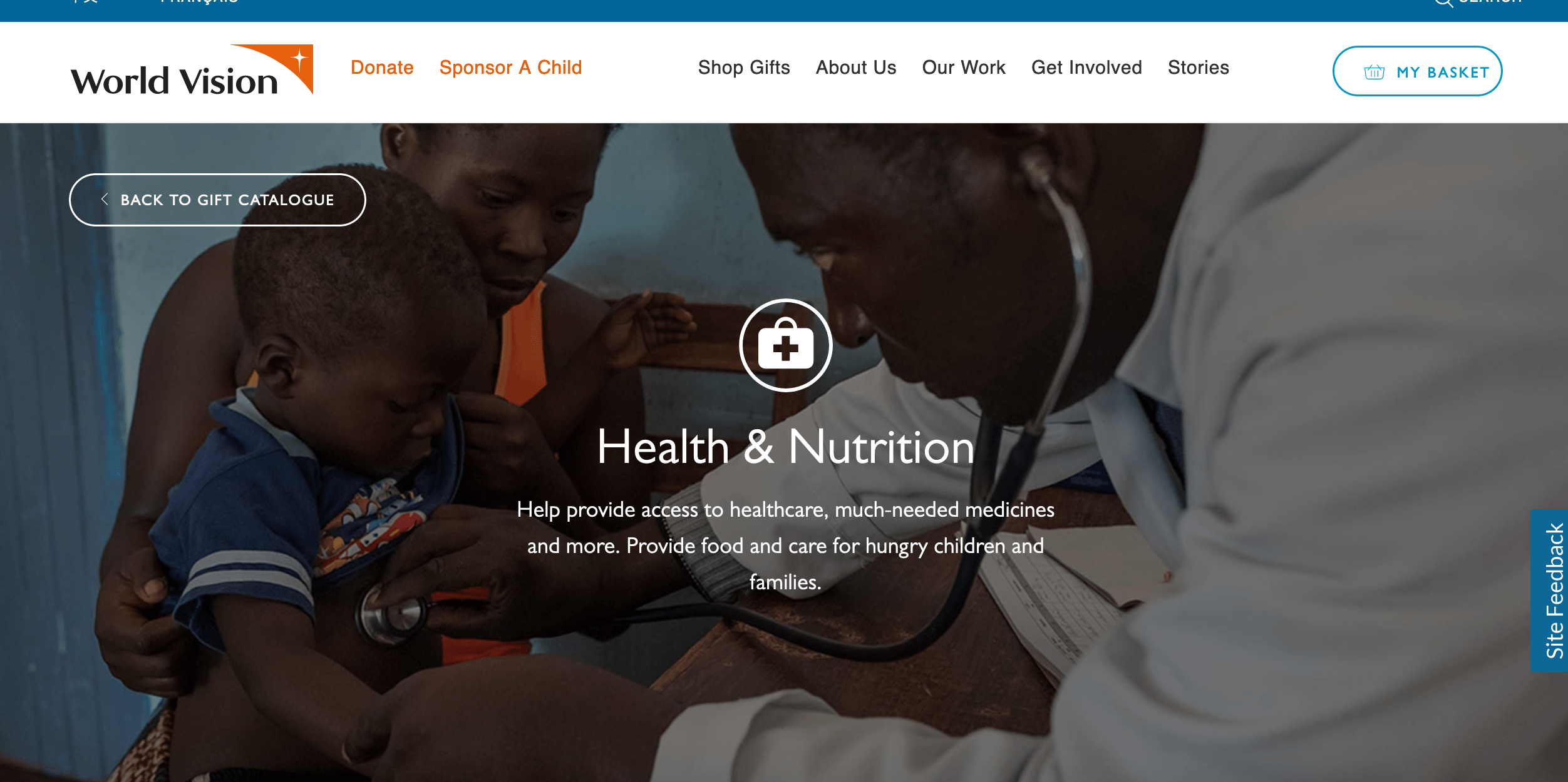 World Vision health and nutrition donations