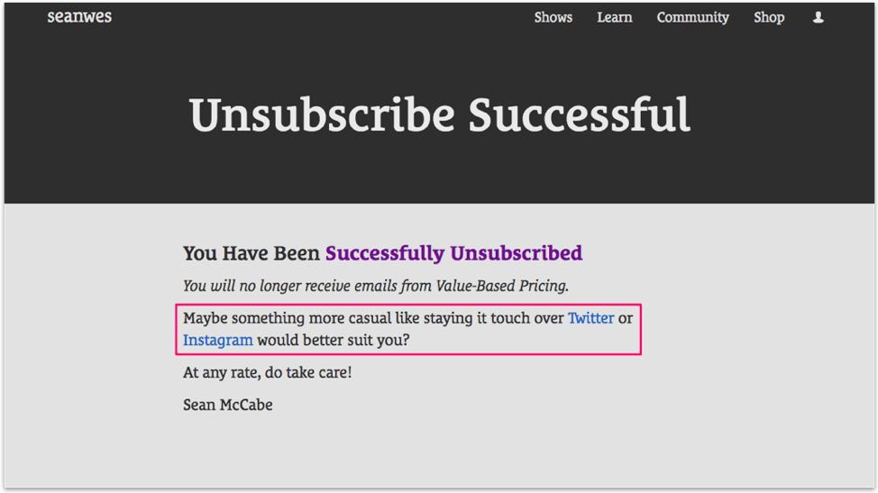 Example of unsubscribe message