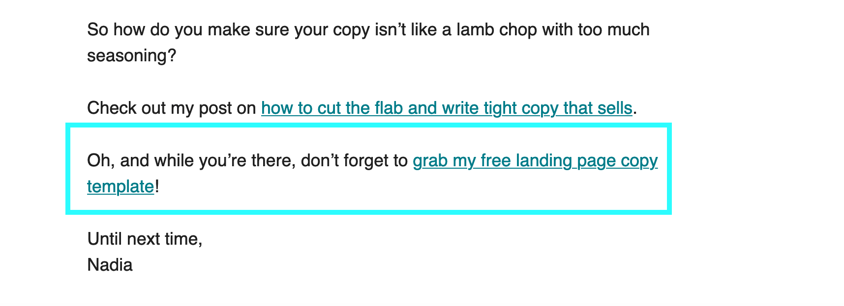 example of offering a freebie in an email