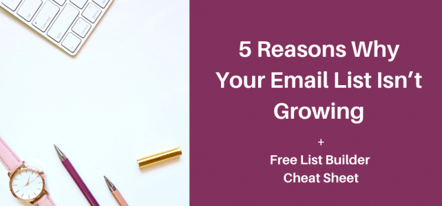 5 reasons why your email list isn't growing + Free list builder cheat sheet