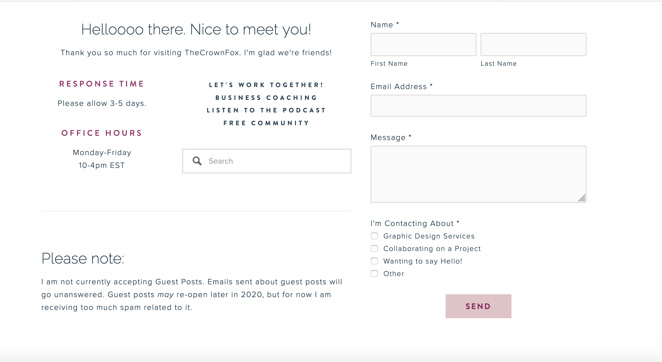 Example of contact form on website