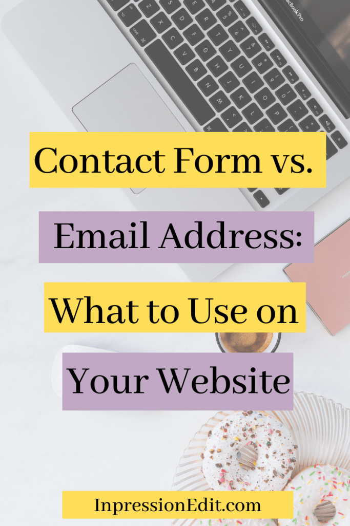 Should you use a contact form or an email address on your website? Discover the pros and cons of each and how to decide which method is right for YOU + grab my contact page copy template & example.