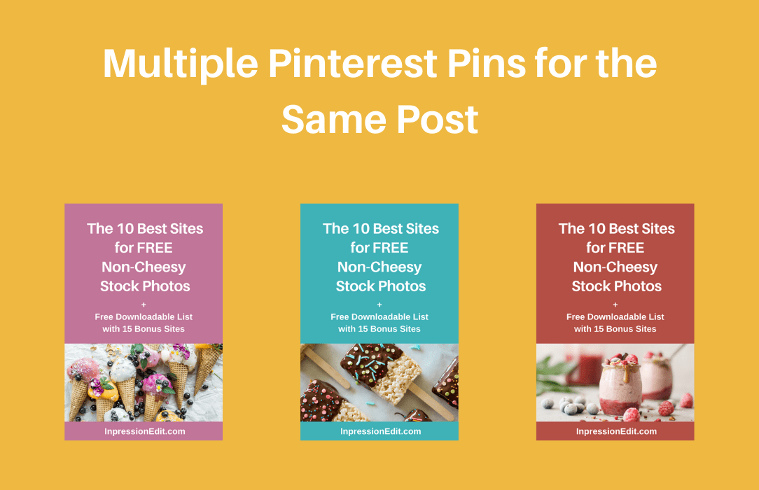 Examples of Pinterest pins for blog posts
