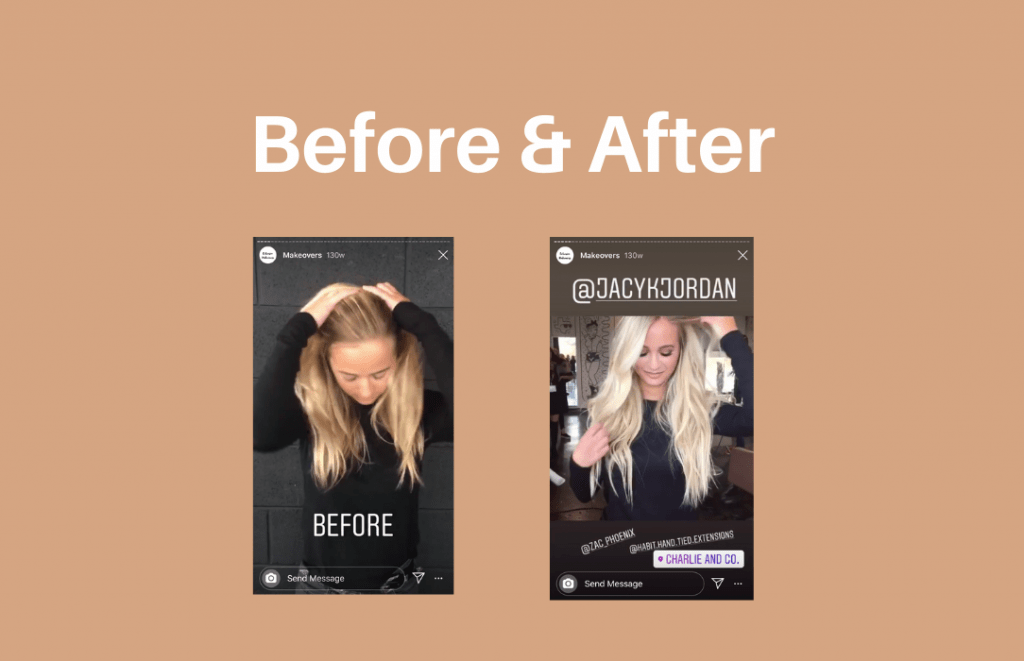 Example of Instagram Stories before and after