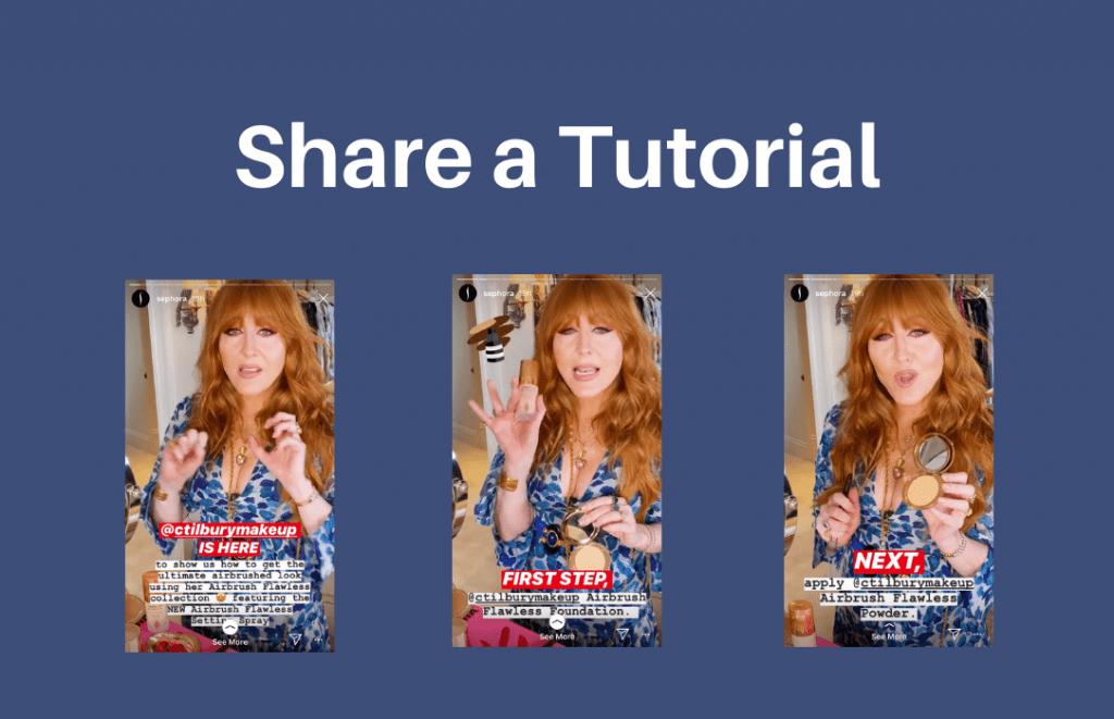 Example of Instagram Stories tutorial