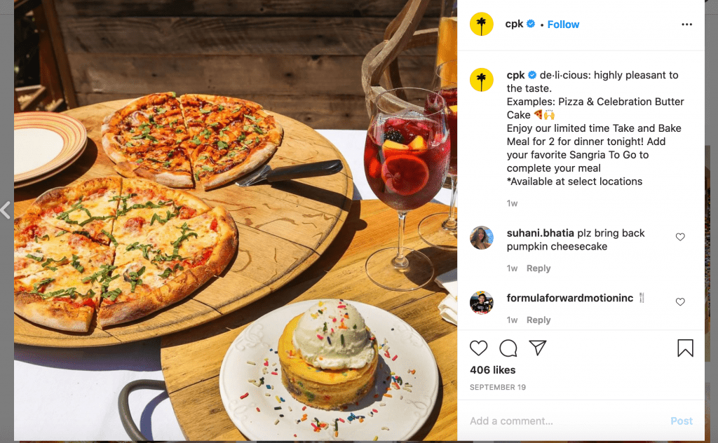 Example of business Instagram captions